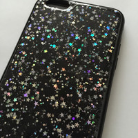 Midnight Silver holographic stars with black and silver glitter iPhone 6+, 6, 5s, 5c, 5, 4s, 4 phone case Samsung S5, S4, S3 phone case