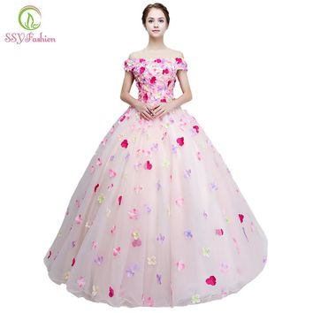 New Sweet Colorful Flower Prom Dress Romantic Flower Fairy Floor-length Long Formal Party Gown Custom