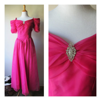 80s Prom Dress in Hot Pink /Magenta /Fuchsia! Barbie's Dream Dress, Material Girl Gown / Off the Shoulder, Long Tea Length, Shimmery Organza