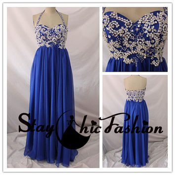 Crystal Beaded Top Royal Long Halter Chiffon by StayChicFashion