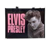 Black & Pink Elvis Presley Recycled Shopper Tote Bag