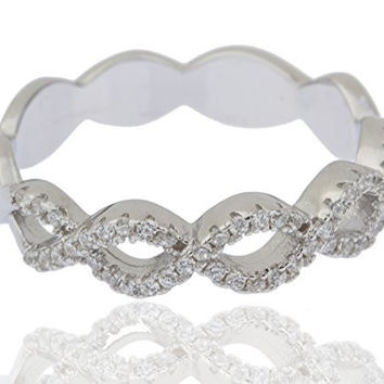 Ladies Sterling Silver Ring Cubic Zirconia Two-tier Braided (8)