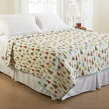 King Christmas Tree Holiday Microfiber Quilt Coverlet Bedspread