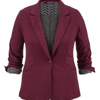 Plus Size - Mulberry Knit Blazer With Chevron Print Lining - Mulberry