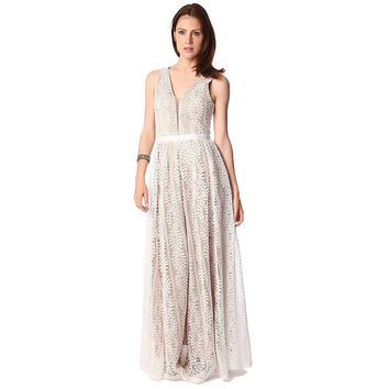 White lace maxi dress with contrast lining and mesh neckline