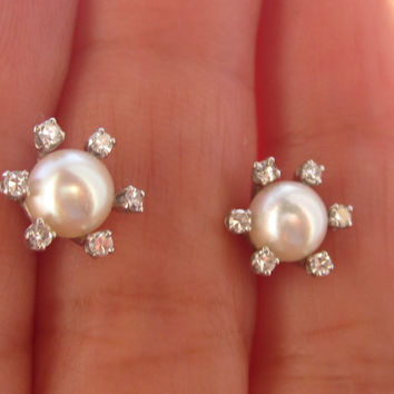 Vintage Diamond & Pearl Stud Earrings 14k Solid White Gold Art Deco Bridal Wedding Jewelry Screw Backs