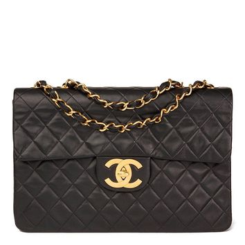 CHANEL BLACK QUILTED LAMBSKIN VINTAGE MAXI JUMBO XL FLAP BAG HB1550