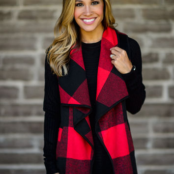 Check Yourself Buffalo Plaid Vest in Red