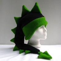 Dragon Hat - Black / Green Fleece Dinosaur by Ningen Headwear