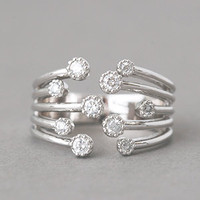 GYPSOPHILA CUBIC ZIRCONIA WRAP RING WHITE GOLD WRAP AROUND RING from Kellinsilver.com