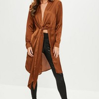 Missguided - Brown Satin Twist Front Blouse