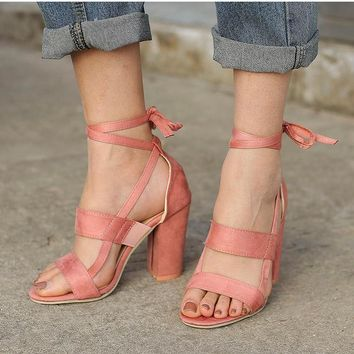 Ariana Ankle Tie Chunky Heel Sandals 5 Colors