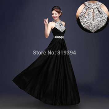 Pluse Size Black Beading Pleat Silk Long Bridesmaid Dresses 2017 Backless Halter Wedding Guest Wear Party Dresses Maid of Honor