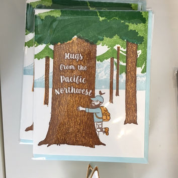 Hugs from the Pacific Northwest Tree Hugger Card