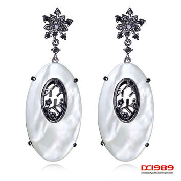 DC1989 fashion designer earrings Clear White Cubic Zircon Silver Pin long earrings18K Gold and Gun and  Platinum Plated