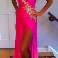 MAC DUGGAL OMBRE NEON PINK SILK CHARMEUSE SZ 2-4 PAGEANT GOWN ONE SHOULDER PROM