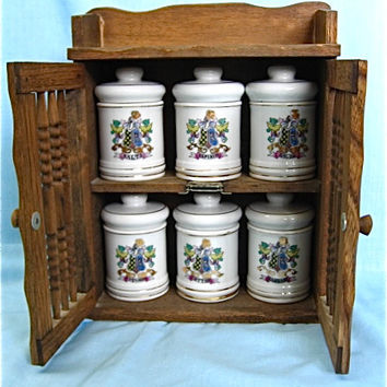 Apothecary Jars and Wood Cabinet