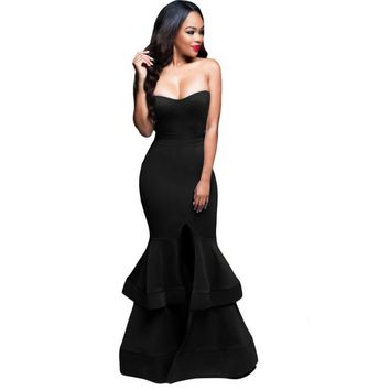 Ladies Women Sexy Dress Backless Open Fork Black red Solid O-Neck Sleeveless Long Dress Elegant Party  Dresses