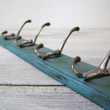 Upcycled Turquoise Wall Rack, 4 Hook Wooden Rack, Entrance Hall Kitchen Towel Coat Wall Rack, Wood Wall Organizer 12 pins, Man Cave Gift