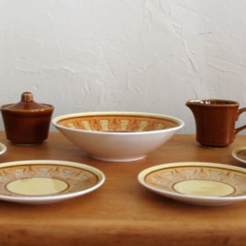 Vintage Taylor Smith Taylor Honey Atomic Onion Bowl, Cup, Saucer, Bread Plate, Creamer and Sugar Bowl