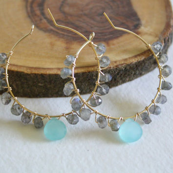 Faceted AA Labradorite and Aqua Blue Quartz Wire Wrapped Gold Fill Hoop Earrings Kaya Jewelry