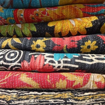 20 Vintage Kantha Quilt Wholesale Lot, Handmade Reversible Cotton Kantha Quilt, Made by Artisians of India, Multicolor Kantha Throw