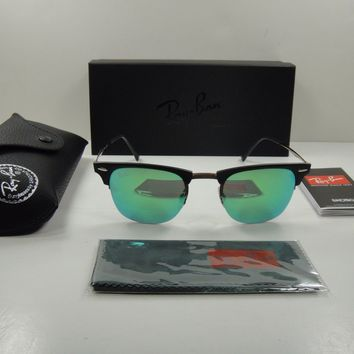 RAY-BAN CLUBMASTER LIGHT RAY SUNGLASSES RB8056 176/3R GREEN MIROR LENS 51MM