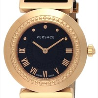 VERSACE VANITY Black Dial P5Q80D009S009 Stainless Calf Leather Belt Ladies Watch