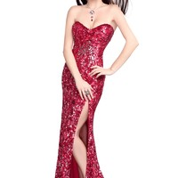 Primavera 9681 Red Evening Dress