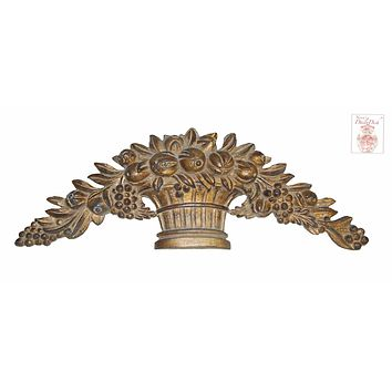 Architectural Golden Harvest Fruit Basket Over Door Picture Topper French Etienne