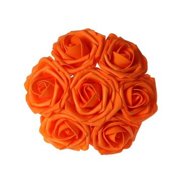 Orange Artificial Flowers 50pcs Real Looking Roses with Stems for Wedding Bouquets Centerpieces Party Baby Shower Decorations DIY