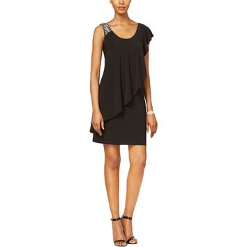 Betsy & Adam Womens Matte Jersey Embellished Cocktail Dress