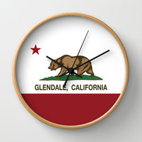 Glendale California Republic flag Wall Clock by NorCal