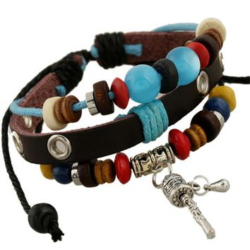 new diy meditation prayer wheel charms bracelet weave rope Genuine Leather cuff bracelet armband for women men beads bohemia
