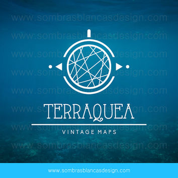 OOAK Premade Logo Design - Earth Globe - Perfect for a vintage maps shop or an travel related business