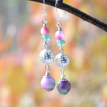 Green and Pink Silver Dangle Earrings