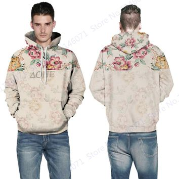 Retro Wild Rose Mens Hooded Sweatshirt Vintage Pink Flower Sports Skateboard Hoodies Yellow Floral Tracksuits Autumn Jacket Coat