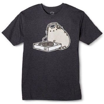 Pusheen The Cat DJ PUSHEEN T-Shirt Charcoal NWT Licensed & Official