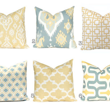 Shop Blue And Gold Decorative Pillows On Wanelo