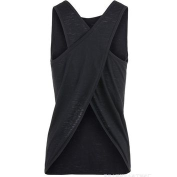 VLX0E4 Sexy Women Tank Top  Quick Dry Loose Fitness Vest  Women's Workout Yoga T-Shirts  Exercise  Sports Vest G-399