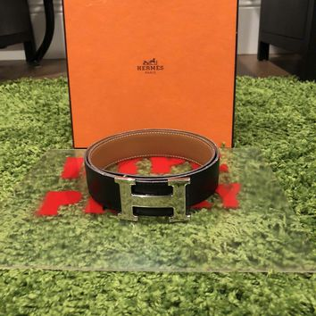 AUTH HERMES Vintage Black Leather Constance Belt MINT*******