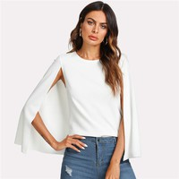Cloak Sleeve Workwear Tops Office Ladies Round Neck Stretchy Plain Regular Elegant Women Blouse