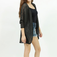 knit sweater 3/4 sleeve open long cardigan black