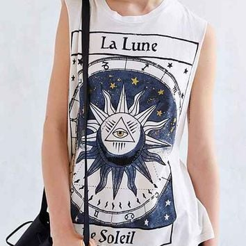 Title Unknown La Lune Foiled Muscle Tee- Ivory
