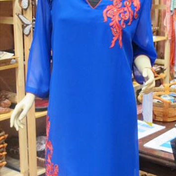 Blue Tunic with Red Embroidery