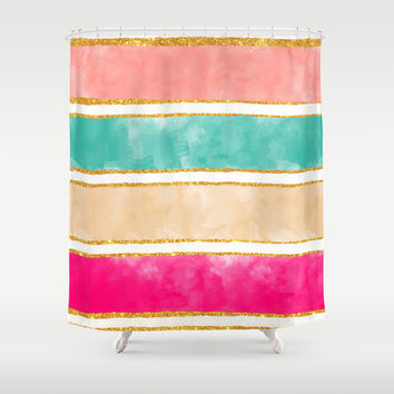 Modern Stripes Pink Red Watercolor Gold Glitter Shower Curtain by Girly Trend