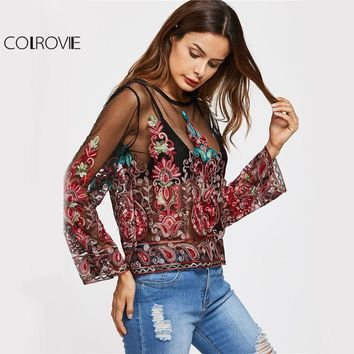 Embroidery Mesh Blouse Vintage Sexy Sheer Tops Women Keyhole Back Thin Summer Tops Floral Long Sleeve Tunic Blouse