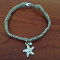 Starfish and Pearl Hemp Bracelet