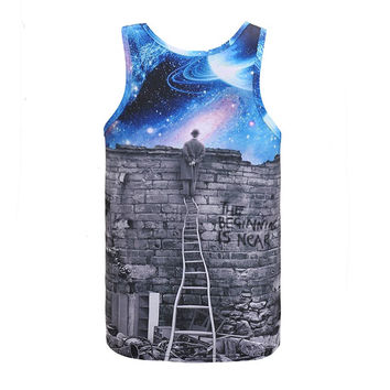New Europe and American Men/boy Tank tops 3d fashion print A person watching meteor shower Space gal