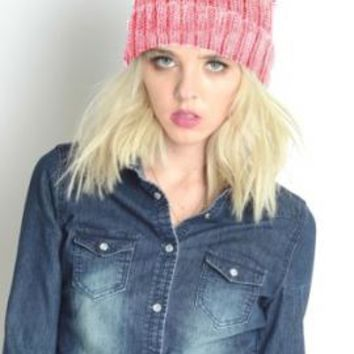 Shades of Life Ombre Ribbed Knit Beanie in Pink   Sincerely Sweet Boutique